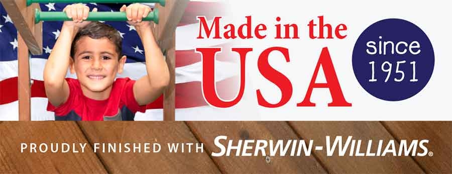 Swing Sets Playsets Proudly made in the USA Sherwin Williams stain