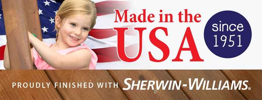 Swing Sets made in the USA stained with Sherwin-Williams